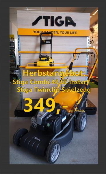STIGA COMBI 48 SE B 575 IS Rasenmäher + Gratis Spielzeugmäher Twinclip